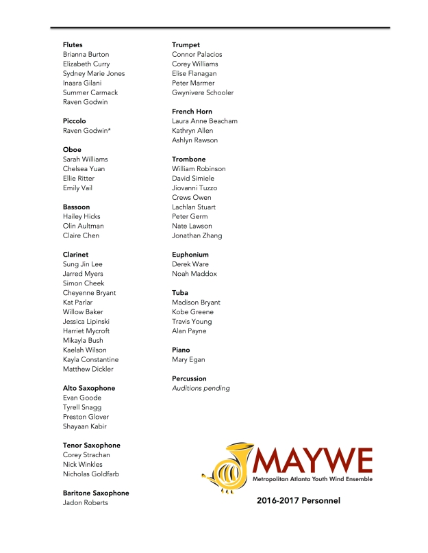 MAYWE Personnel 2016-2017